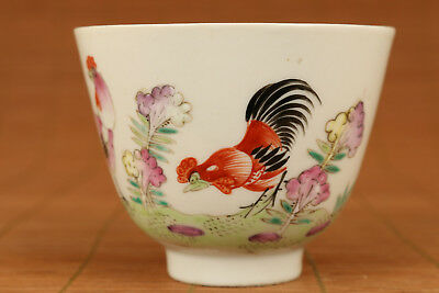 Vintage Old porcelain Cock Wine Tea Cup / Bowl Horse with chicken design cup