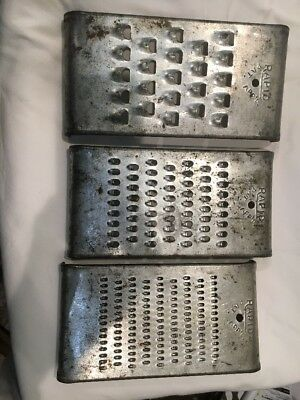 Vintage RAPID Set of 3 Curved Metal Graters/Shredders/Cutters Good Condition