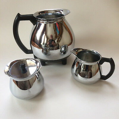 Mid-Century Deco Sunbeam Coffeemaster C30A, Matching Creamer, Sugar Bowl w/ Top