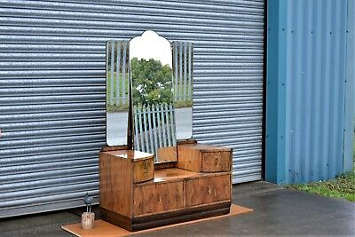 Vintage Figured Walnut Dressing Table with Mirrors.