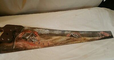 Vintage Antique Hand Painted Hand Saw Primitive Rustic Cabins