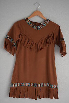 Native American Indian Girls Halloween Costume Dress and Choker Size 12-14