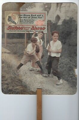 1915? Peters Shoes Hand Fan, Pearson Harness & Shoes Monmouth, IL Kids Baseball