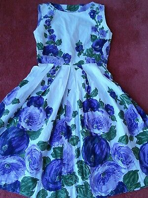 Handmade true vintage 1950s cotton dress, lilac roses,  VGC, size 8