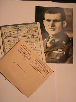WW2, MY PERSONAL V- MAIL WITH CENSOR STAMP, WITH MY 1943 PHOTO. See Memo