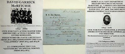 Civil War/indian Wars Navy Officer Uss Tallapoosa Document Signed To Admiral Vf!