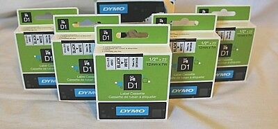 "DYMO 4#5013 Black & White 1/2""X23' Label Cassette Box of 5 Sealed Boxes"