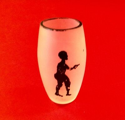 RARE Antique Frosted Satin Glass Shot Glass w/ Black Man~Late 19th/Early 20th C.