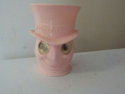 "Vintage 1950s Jiminy Cricket Moving Eyes Cup, pink, 4"" tall"