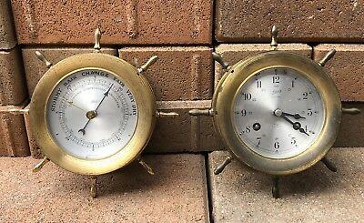 VTG Schatz German Marine Ships 8 Day Clock 7 Jewels Barometer Brass Ocean Bell