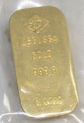 Degussa 1oz. 999.9 Fine Gold Vintage Bar Sealed