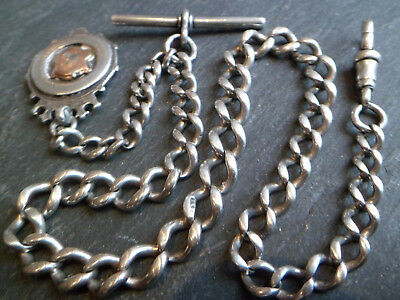 Antique Hallmarked Solid Silver Graduated Albert Pocket Watch Chain 47.6g 1.7oz
