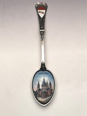 "Hand Enameled Souvenir Spoon, 800 fine, ""Saint Martin's Cathedral"" Germany"