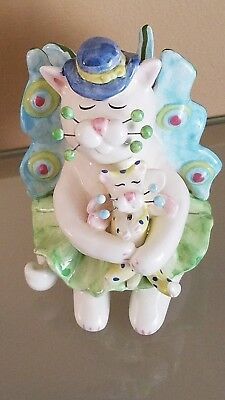 """RARE """"Lydia"""" fairy butterfly WhimsiClay Cat Figurine Fancy Felines Amy Lacombe"""