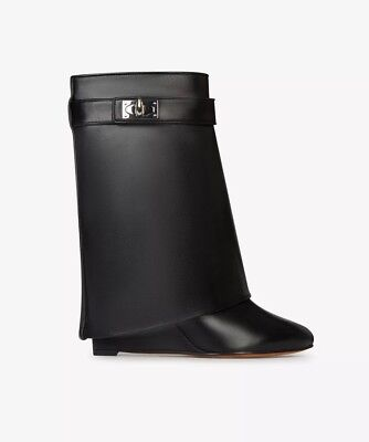 765771fdc Givenchy Shark Lock Fold-Over Black Leather Ankle Booties Size 37.5/7.5  $1850.00