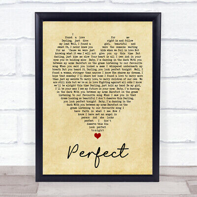 Perfect Ed Sheeran Vintage Heart Quote Song Lyric Print