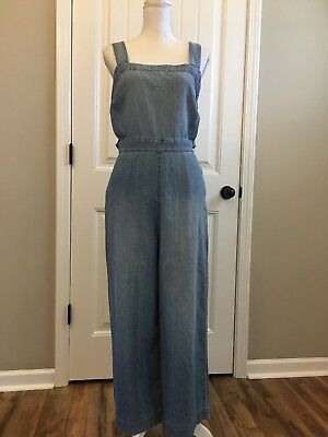 New Madewell Apron Bow Back Jumpsuit True Black Sz 14 Spring 17