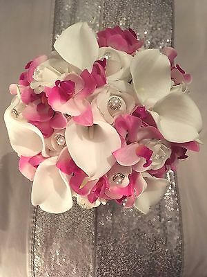 Bridal Bouquet Ivory Rose Lily Pink Orchid Real Touch Brides Wedding Flowers