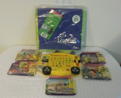 LEAP FROG - MY FIRST LEAPPAD  yellow with 5 books & 4 cartridges.(Backpack NEW)