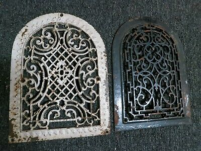 Cast Iron Arch victorian grate/vent wall lot (2) raised covers