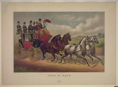 'Four in hand',c1887,Currier & Ives,Photograph,horse-drawn carriage,men,women
