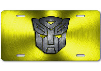 Transformers Autobot Stone logo Aluminum Car Truck License Plate Tag Yellow