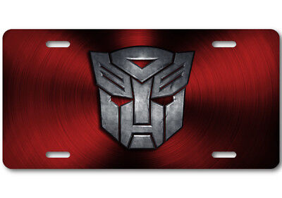 Transformers Autobot Stone logo Aluminum Car Truck License Plate Tag Red