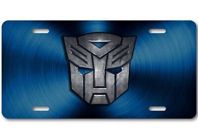 Transformers Autobot Stone logo Aluminum Car Truck License Plate Tag Blue