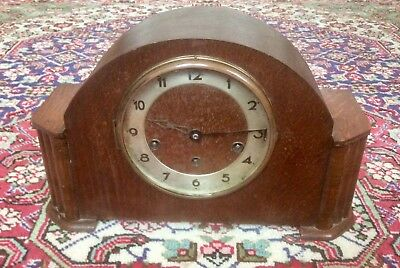 Antique ART DECO Mantel Clock GUFA,Schatz Germany,WESTMINSTER Chime,OAK CASE,Old