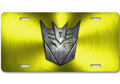 Transformers Decepticon Stone logo Aluminum Car Truck License Plate Tag Yellow