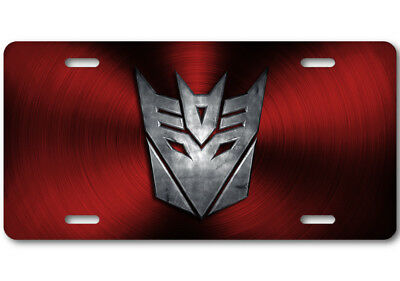 Transformers Decepticon Stone logo Aluminum Car Truck License Plate Tag Red