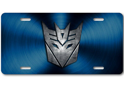 Transformers Decepticon Stone logo Aluminum Car Truck License Plate Tag Blue