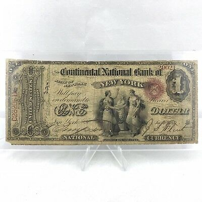 1865 $1 Dollar Continental National Bank Of New York Note