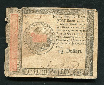 Cc-96 January 14, 1779 $45 Fourty Five Dollars Continental Currency Note