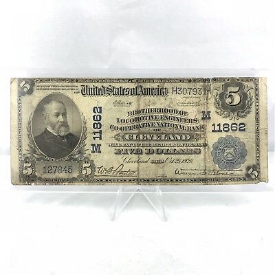 1902 Brotherhood National Bank Of Cleveland $5 Large Note