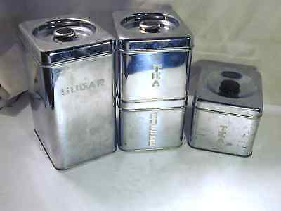 Vintage 50s Chrome 3 Pc + 1 FREE Canister Set Lincoln BeautyWare