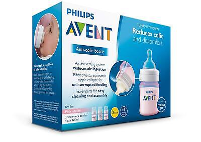 Pink Edition Philips Avent Anti-colic  Baby Bottles 4oz, 3 Piece Wide Neck NEW