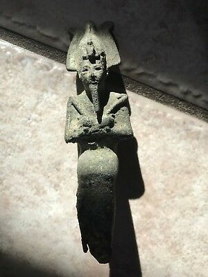 Ancient Egyptian Bronze Ushabti Figure Faience Of Osiris- Seated Form- Very Fine