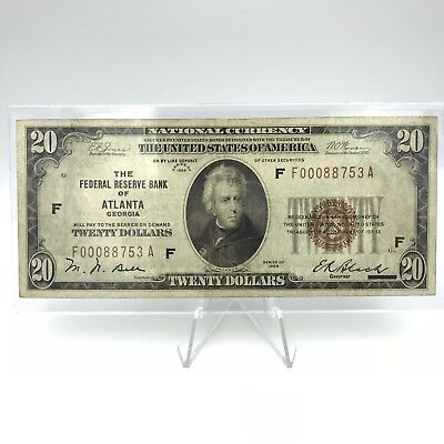 Series 1929 $20 Atlanta Georgia GA Federal Reserve Brown Seal Small US Note FRN