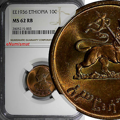 Ethiopia Copper EE1936(1943-1944)10Cent,Assir Santeem NGC MS62 RB Nice Red KM#34