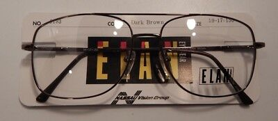 f0a37153489 Vintage Elan 9193 Dark Brown 59 17 Dbl Bridge Eyeglass Frame New Old Stock