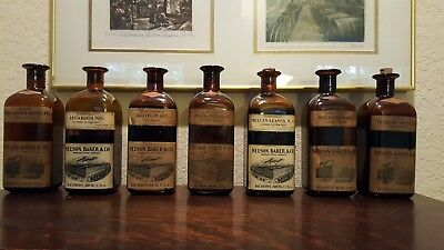 Rare lot Of 7 Antique Nelson Baker & Co. Pharmacy Bottles with contents Lot #1