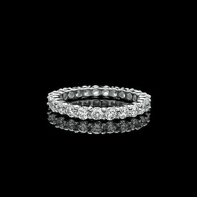 1.50Ct Brilliant Created Diamond Eternity Ring Solid 14K White Gold Band Size 6