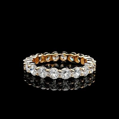 3.00Ct Brilliant Created Diamond Eternity Ring Solid 14K Yellow Gold Band Size 5
