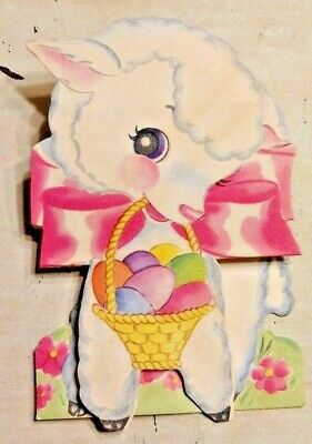 Vintage 40s Easter Basket Colored Dyed Eggs Sheep Lamb Greeting Card Foldover