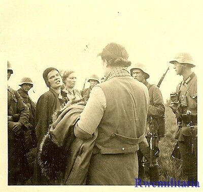RARE: Wehrmacht Troops w/ Captured Polish Women POW's in Field; 1939!!!
