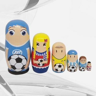 6Pcs Cute Soccer Players Pattern Nesting Dolls Wooden Russian Painted Doll Toy
