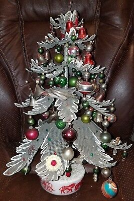 Antique Child's Christmas Tree Wire Leaves 85 Ornaments W/Plastic Toys & Child's