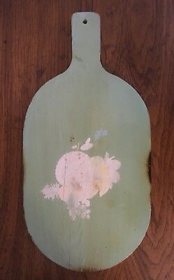 (Rare Original) Antique Wooden Bread/ Chopping Cutting Board/ Vtg Painted Fruit
