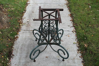 Antique Victorian Wrought Iron Table Base-Detailed Scrolls-Large-Garden